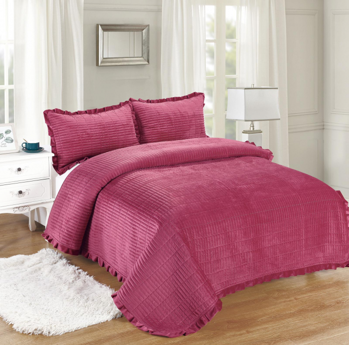 Cuvertura de pat, Catifea, 3 Piese, Ciclam [0]