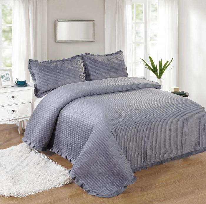 Cuvertura de pat, Catifea, 3 Piese, Gri [0]