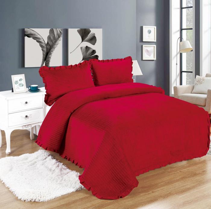 Cuvertura de pat, Catifea, 3 Piese, Grena [0]