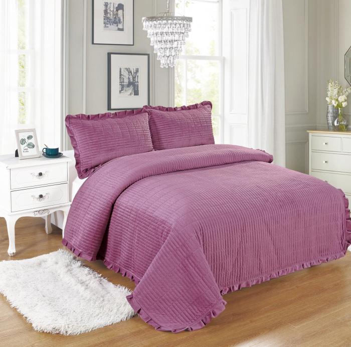 Cuvertura de pat, Catifea, 3 Piese, Lila [0]