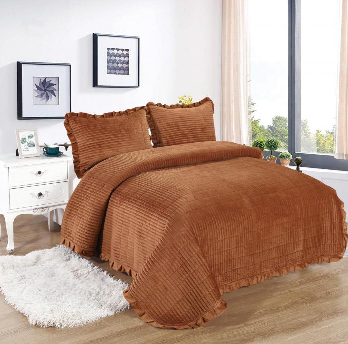 Cuvertura de pat, Catifea, 3 Piese, Ciocolatiu [0]