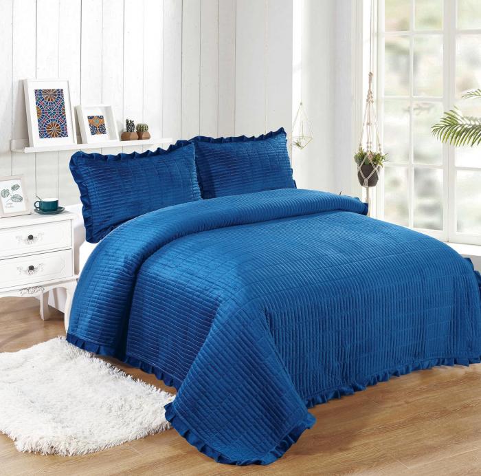 Cuvertura de pat, Catifea, 3 Piese, Bleumarin Uni [0]