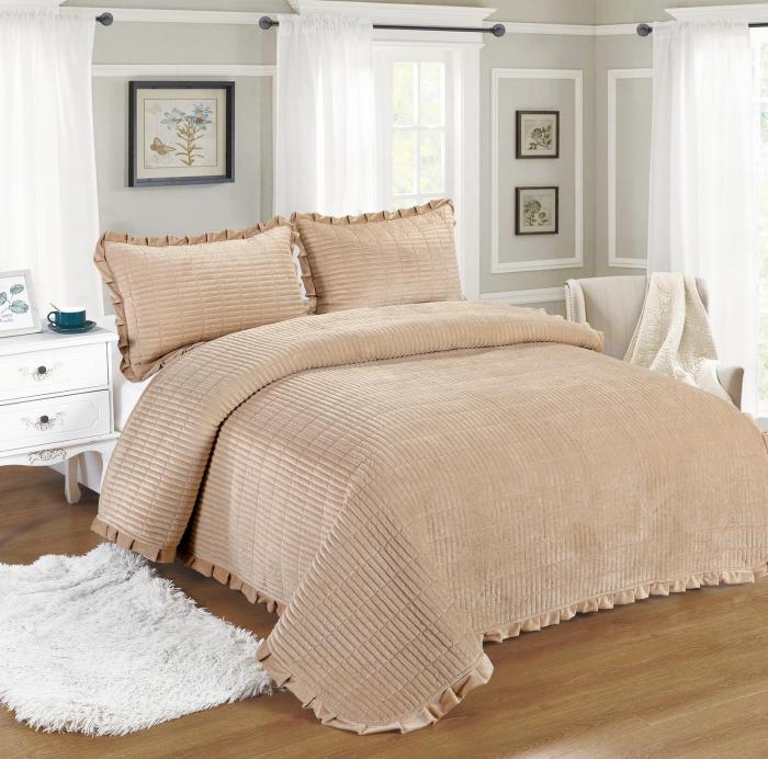 Cuvertura de pat, Catifea, 3 Piese, Bej [0]