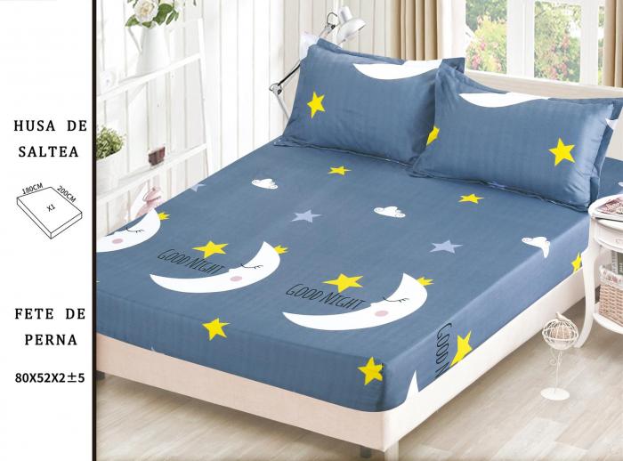 Husa de Pat cu Elastic Din Bumbac Satinat, Albastru cu Luna si Stele 0
