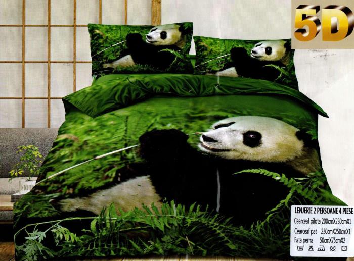 Lenjerie 5D Bumbac Satinat, 4 Piese cu Panda 0