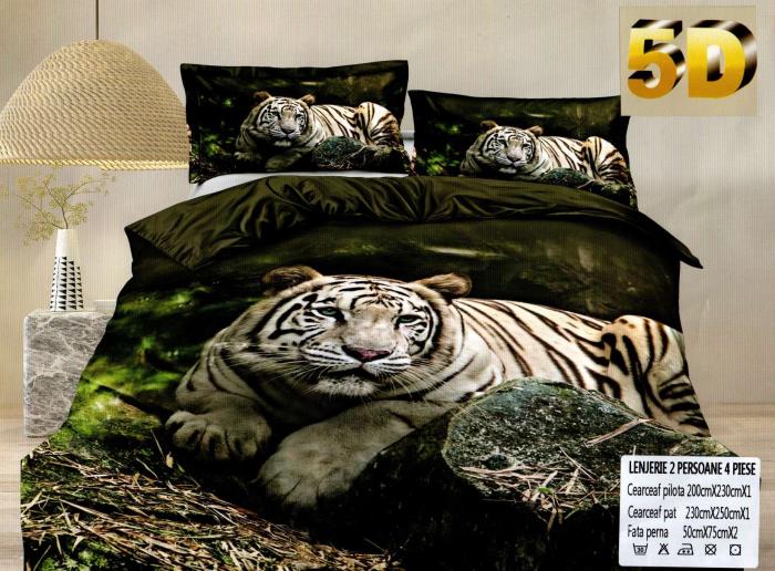 Lenjerie 5D Bumbac Satinat, 4 Piese cu Tigru 0