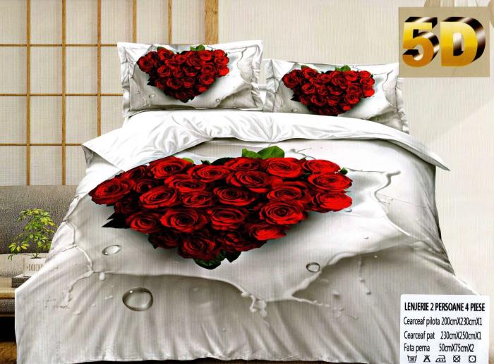 Lenjerie 5D Bumbac Satinat, 4 Piese cu Trandafiri [0]