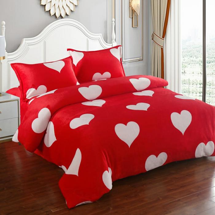 Lenjerie Cocolino 4 Piese Roșie cu Inimi 0
