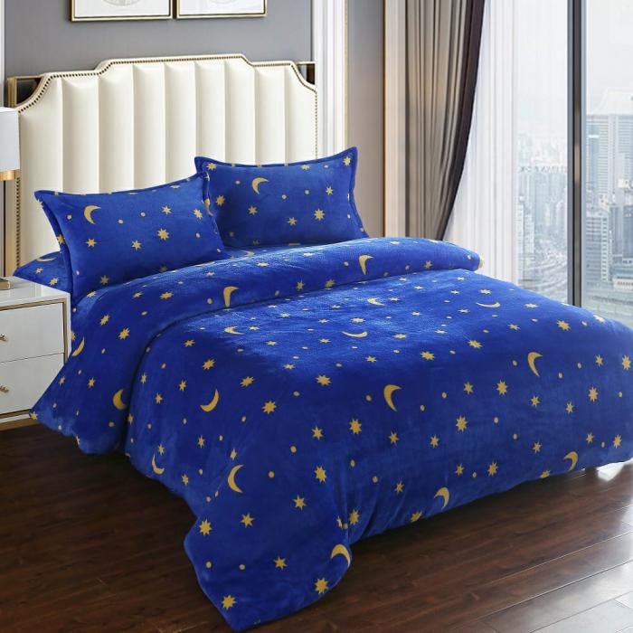 Lenjerie Cocolino 4 Piese Albastru Deschis Cu Luna și Stele 0