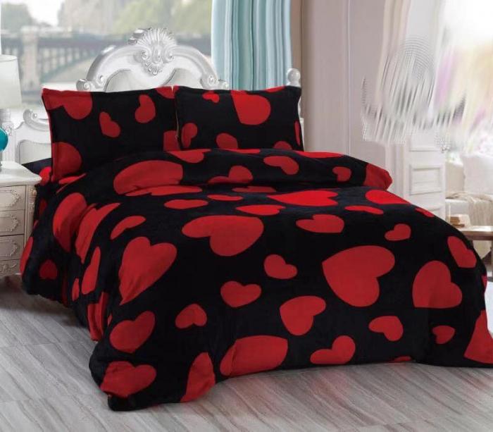 Lenjerie Cocolino 4 Piese Neagra cu Inimioare Rosii 1