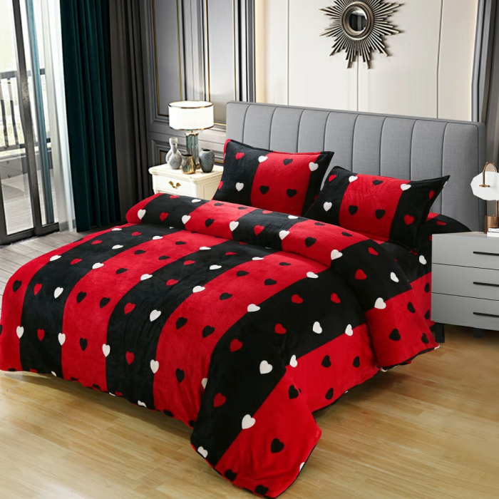 Lenjerie Cocolino 4 Piese Roșie cu Negru Și Inimi 0