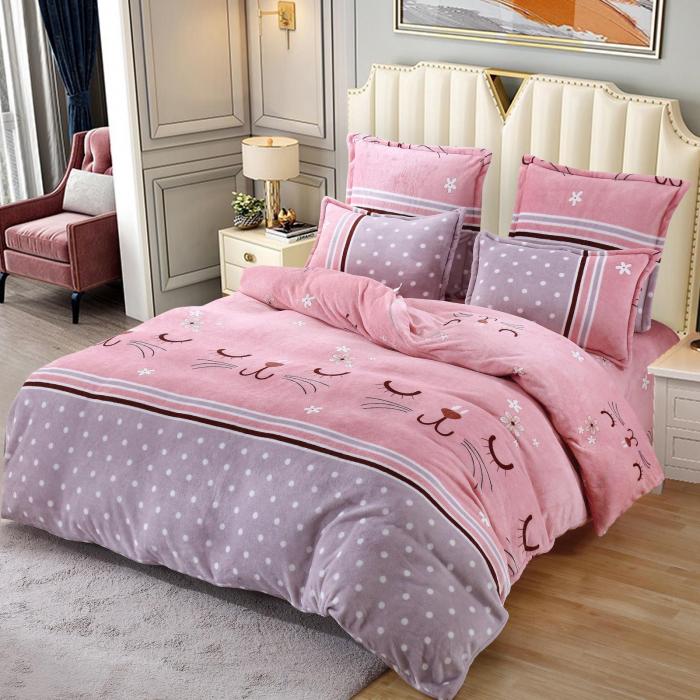Lenjerie Cocolino 6 Piese Roz cu Pisicute 0