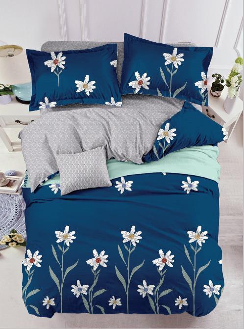 Lenjerie din Finet 6 Piese Albastru Marin cu Flori 0