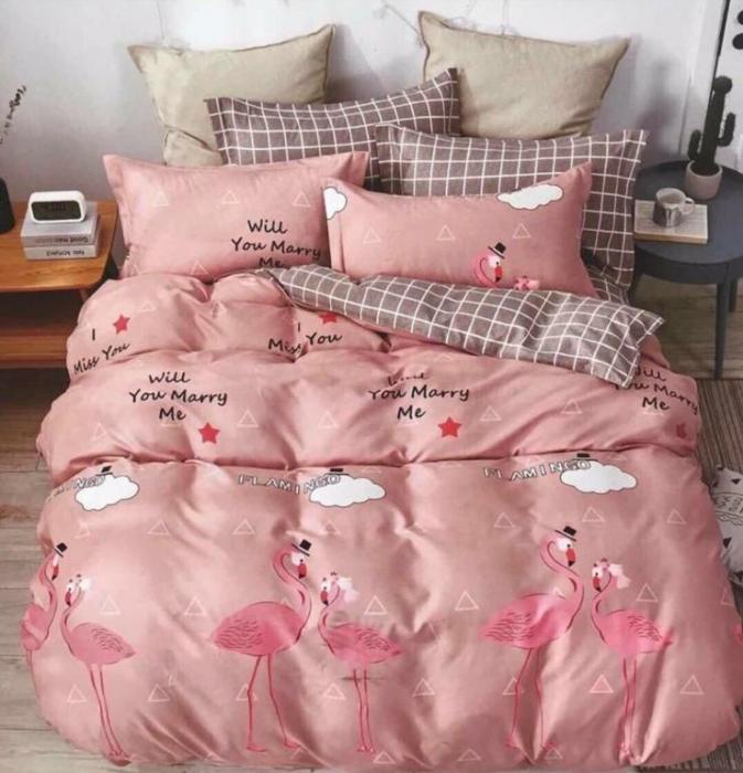 Lenjerie Finet 6 Piese Roz cu Flamingo 0