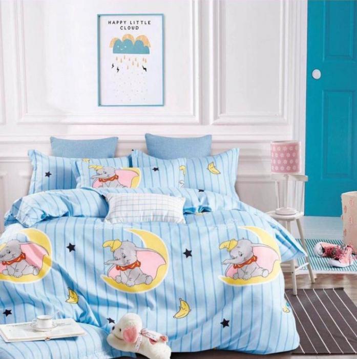 Lenjerie Finet 6 Piese Bleu cu Luna si Elefantei 0