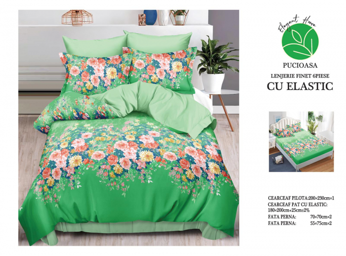Lenjerie Finet 6 Piese cu Elastic, Verde cu Floricele [0]