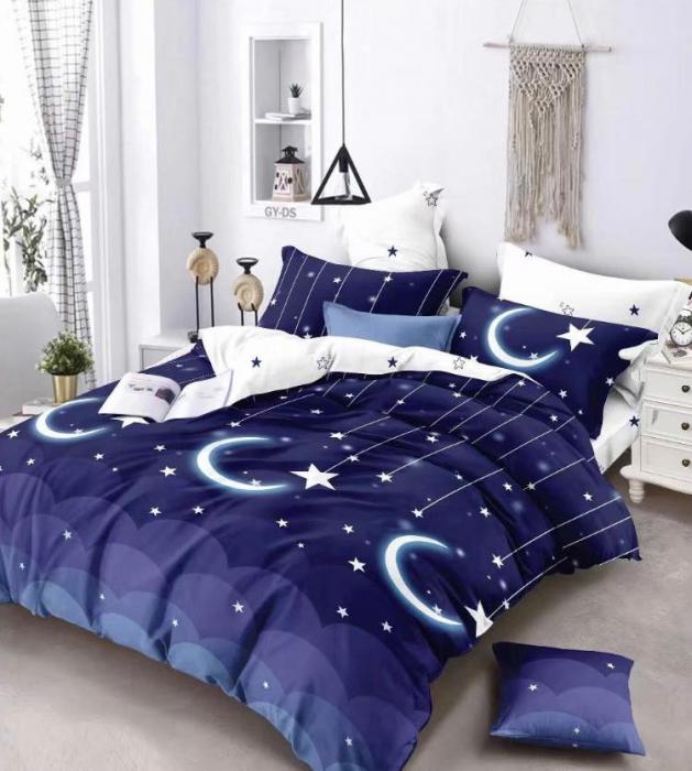 Lenjerie Finet 6 Piese Albastru Inchis cu Luna si Stele 0