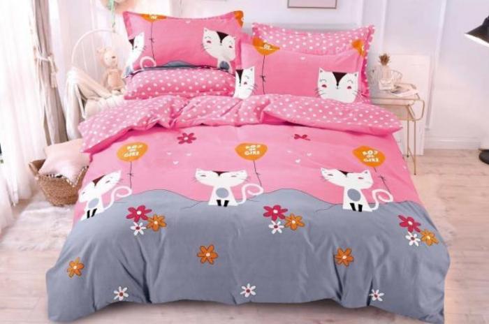 Lenjerie Finet 6 Piese Gri cu Roz si Pisicute 0