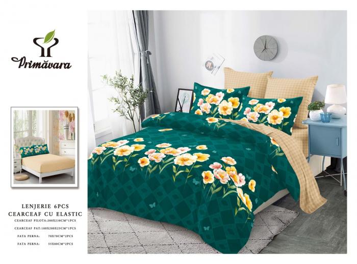Lenjerie Finet 6 Piese cu Elastic, Verde cu Flori [0]