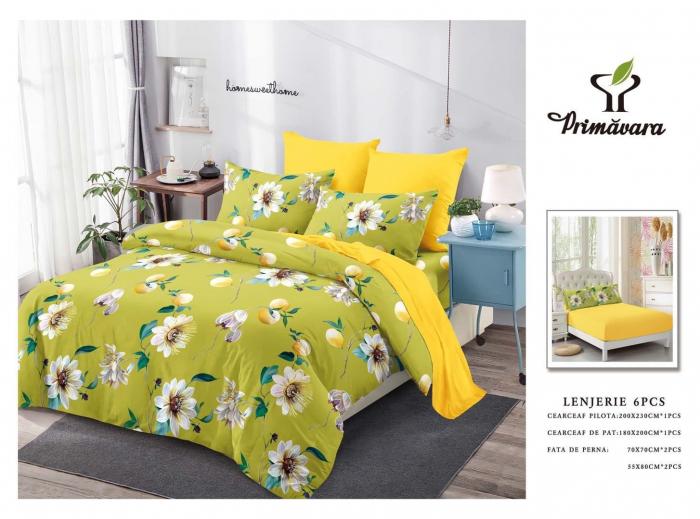 Lenjerie Finet 6 Piese cu Elastic, Verde Deschis cu Flori [0]