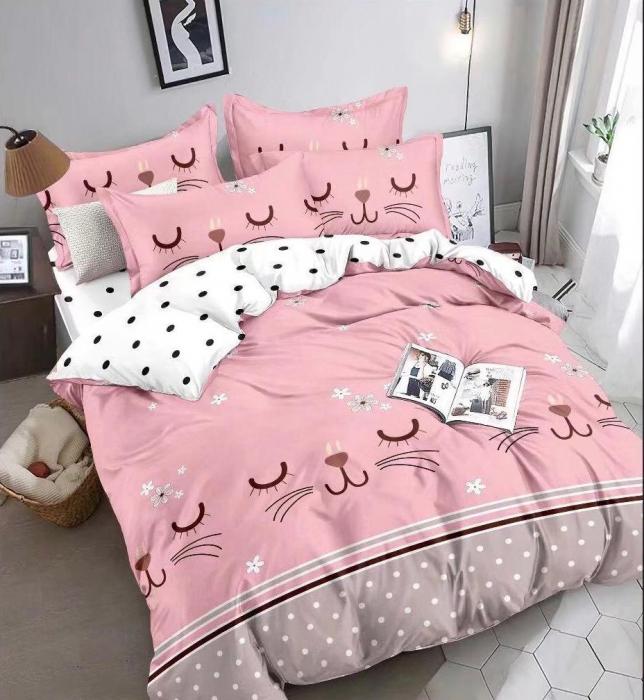 Lenjerie Finet 6 Piese Roz cu Pisicute si Floricele 0