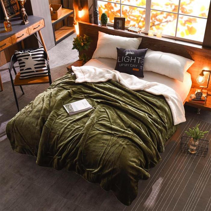 Pătura Cocolino cu Blăniță, Verde Uni 0