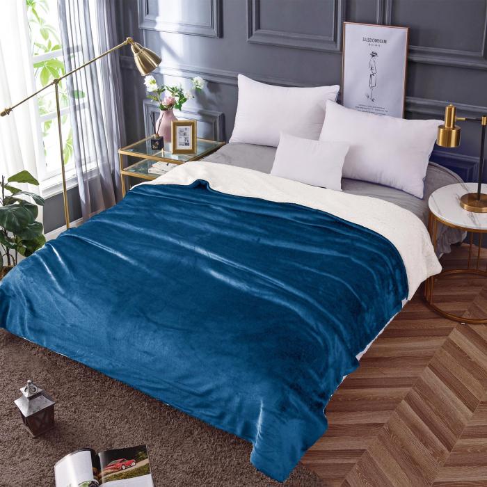 Pătura Cocolino cu Blăniță, Albastru Uni 0