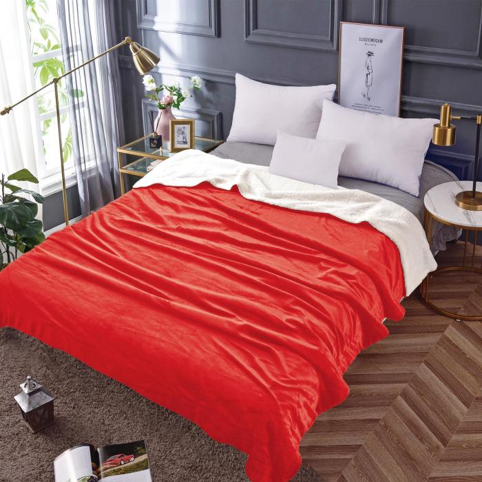Pătura Cocolino cu Blăniță, Roșie Uni 0