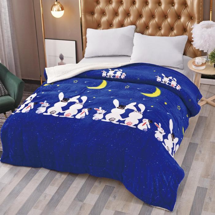 Pătura Cocolino cu Blăniță, Albastru cu Iepurași [0]