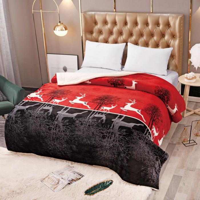 Pătura Cocolino cu Blăniță, Roșie cu Negru și Cerbi [0]