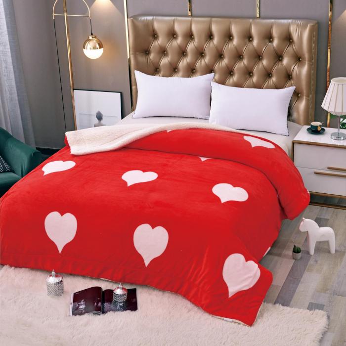Pătura Cocolino cu Blanita Roșie cu Inimi 0