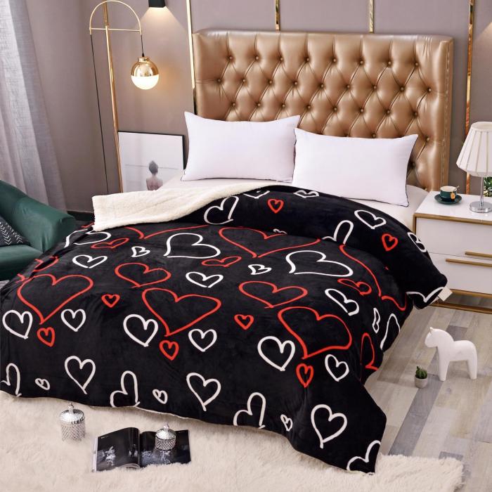 Pătura Cocolino cu Blanita Neagră cu Inimi 0
