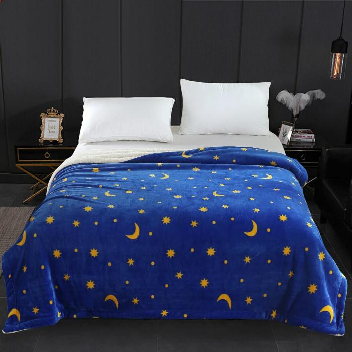 Patura Cocolino cu Blanita, Albastra cu Luna si Stelute Galbene 0