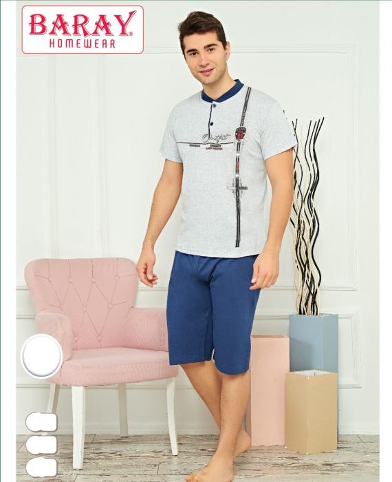 Pijama Barbat, Gri, Din Bumbac cu Lycra 0