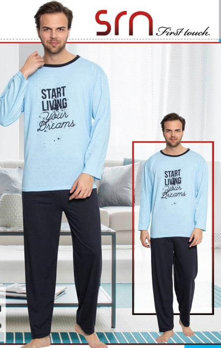 Pijama Barbati Serena, cu Imprimeu Living Your Dreams [0]