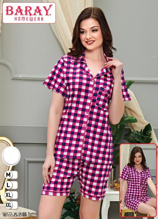Pijama Dama, cu Carouri, din Bumbac 0
