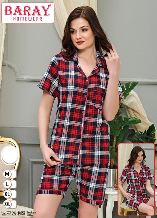 Pijama Dama, cu Carouri, din Bumbac [0]