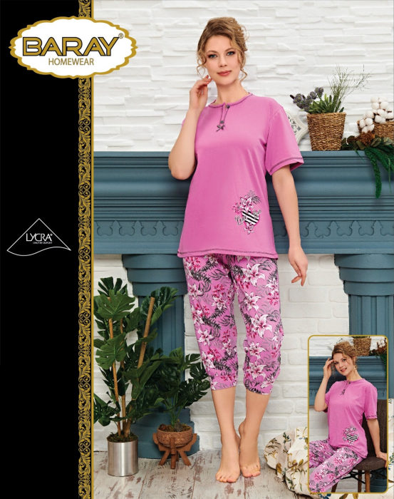 Pijama Dama, Roz, Din Bumbac Cu Lycra [0]