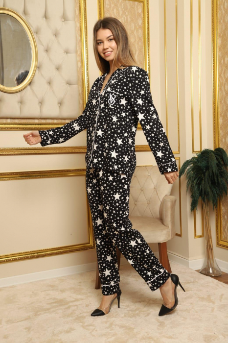 Pijama Dama, Neagra cu Stele, Din Satin [0]