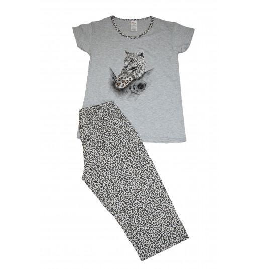 Pijama Dama Serena, Gri cu Imprimeu Leopard 0