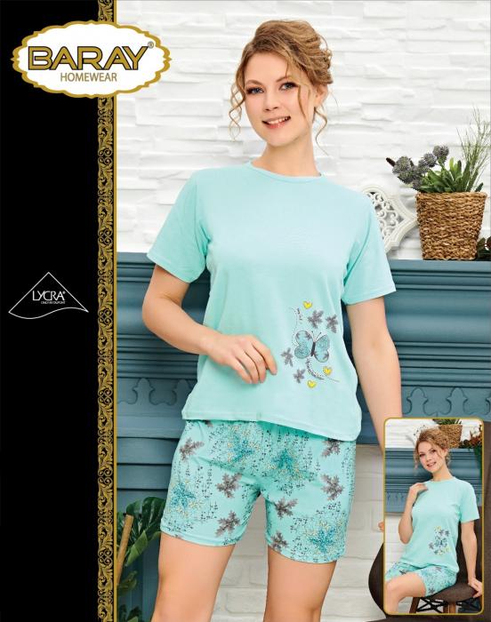 Pijama Dama, Vernil, Din Bumbac cu Lycra 0