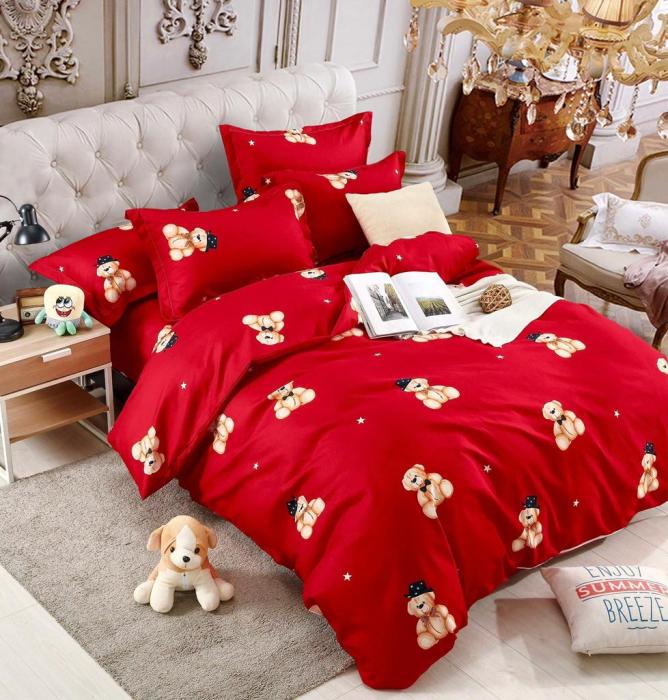 Set Lenjerie + Husa pat, Rosie cu Ursuleti [1]