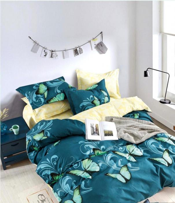 Set Lenjerie + Husa pat, Verde cu Fluturi [1]