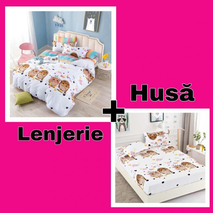 Set Lenjerie + Husa pat, cu Bufnite [0]