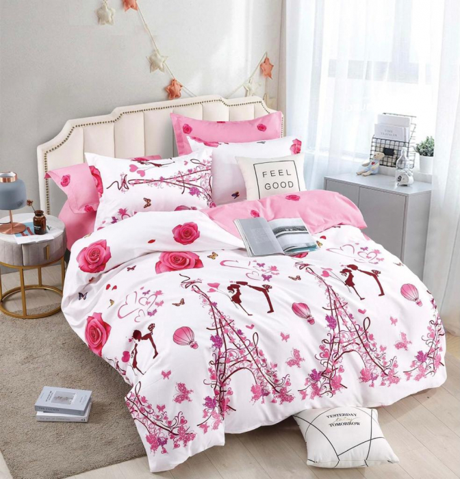 Set Lenjerie + Husa pat, cu Trandafiri/Inimi [1]