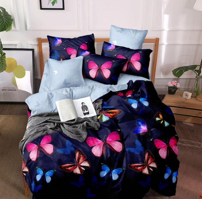 Set Lenjerie + Husa pat, cu Fluturi Colorati [1]