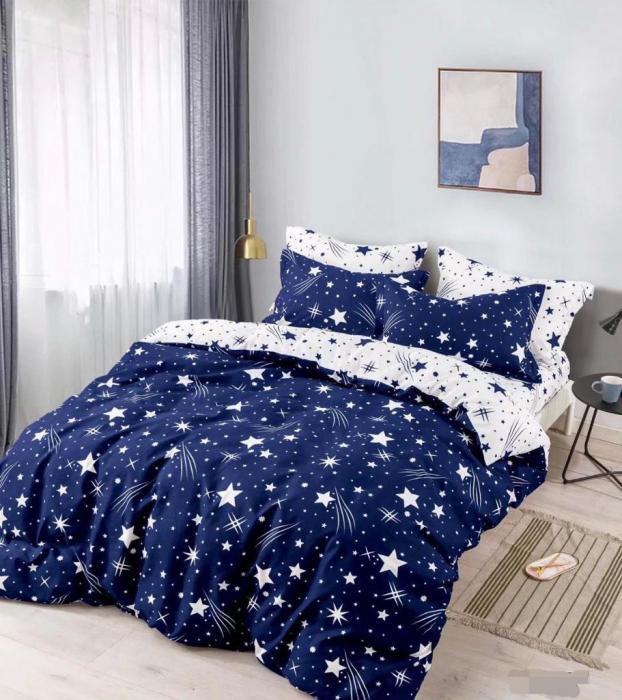 Set Lenjerie + Husa pat, Bleumarin cu Stele [1]