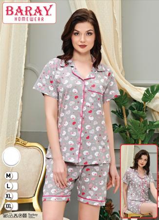 Pijama Dama, Gri, Din Bumbac