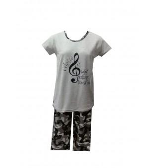 Pijama Dama Serena, Gri cu Imprimeu Cheia Sol [0]