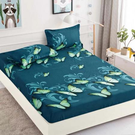 Set Lenjerie + Husa pat, Verde cu Fluturi [2]